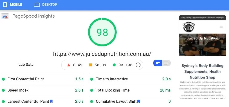 Juiced Up Nutrition Google Page Speed - Worlds Fastest Websites