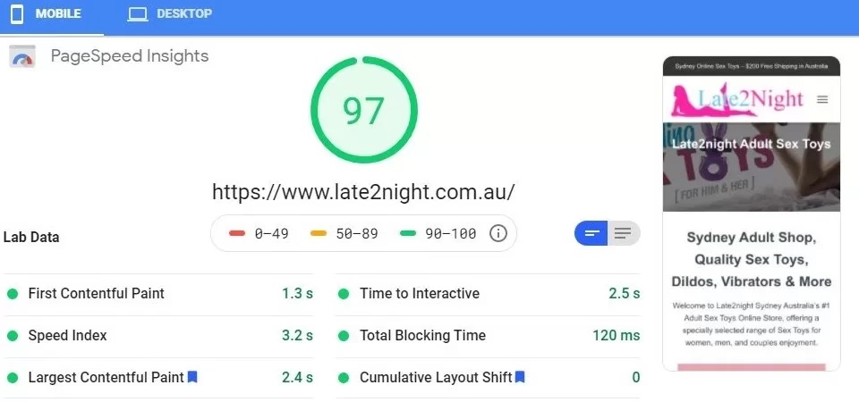 Late2night Google Page Speed Test - Worlds Fastest Websites