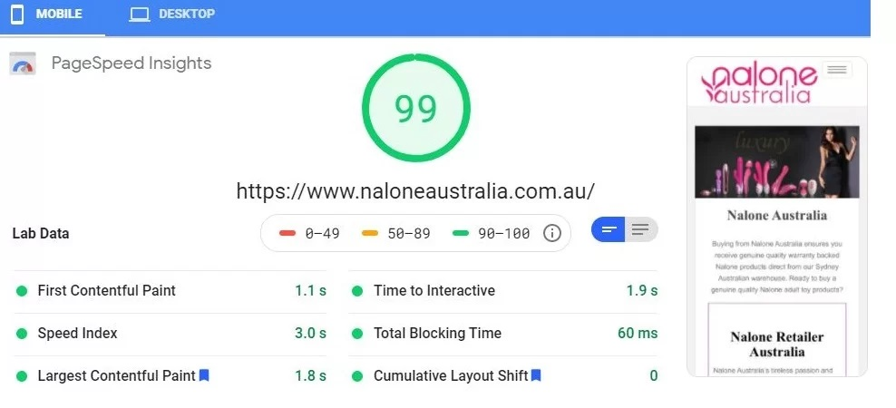 Nalone Australia WordPress Website - Worlds Fastest Websites