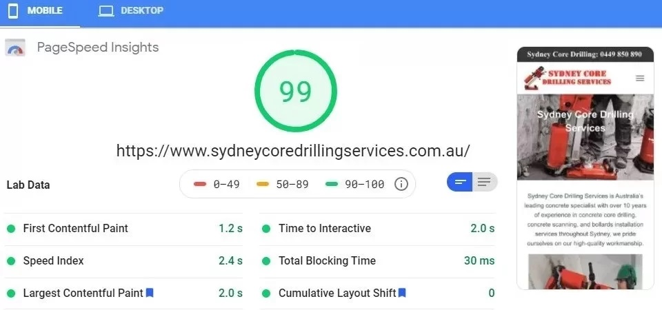 Sydney Coredrilling Services Google Page Speed - Worlds Fastest Websites