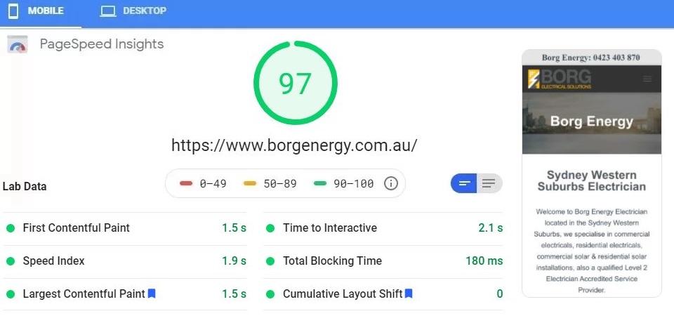 WordPress Website Experts Google Page Speed Test